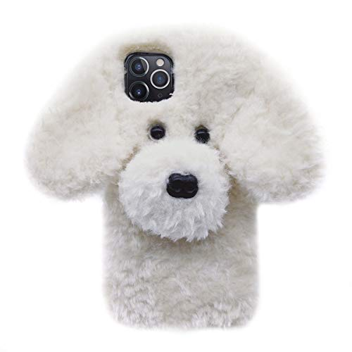 Losin Dog Case Compatible with Apple iPhone 12 Mini 5.4 inch Case Fashion Luxury Cute Fuzzy Furry Wool Plush Fluffy 3D Cute Dog Face Doll Soft TPU Back case