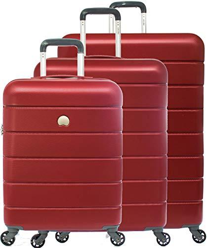 Delsey - Lagos - SET 3 pezzi valigia trolley da cabina, medio, grande 4 ruote TSA rigido rosso cod. 3870986