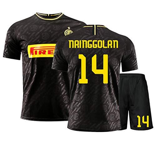 GHMEI Kinder Fußball Trikot Kits T-Shirt Shorts, 2020-2021 Mailand (Heim und Auswärts), Fußball Trikot, Nainggolan Icardi Herren/Jugend/Kinder/Jungen Sportswear Set-F-160