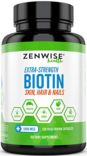 Biotin 5000 MCG - Extra Strength Hair Growth Support - Promotes Thicker, Fuller & Shinier...