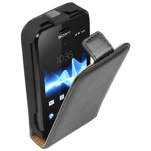 mumbi Echt Leder Flip Case kompatibel mit Sony Xperia Tipo Hülle Leder Tasche Case Wallet, schwarz