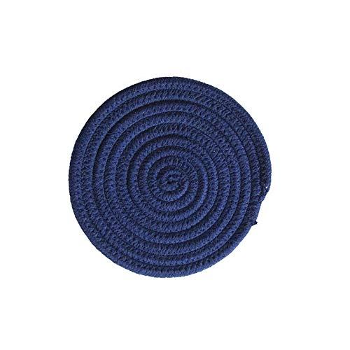Manyao Handarbeit Baumwolle Seil Platzdeckchen Hand gesponnene Tischsets Servietten Geschirr Getränk Cup Coaster Isolierung Pad Küche Abendessen Wohnkultur (Color : Dark Blue, Size : Round)