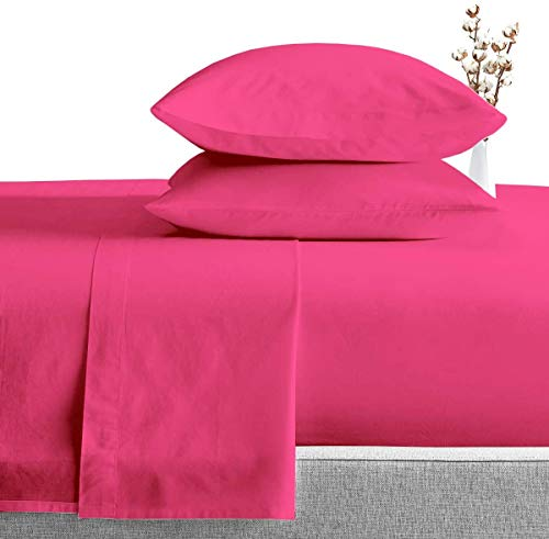 Exclusive Sheets - 4 Piece Sheet Set 16' (40cm Deep Corners) - Long Staple 1000 Thread Counts 100% Egyptian Cotton (Euro Small Single Size, Hot Pink Solid)