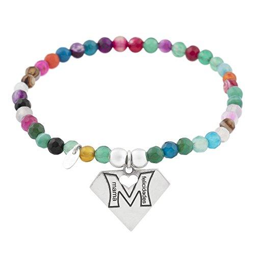 Córdoba Jewels   Pulsera en Plata de Ley 925 con diseño Mamá Felicidades Colors
