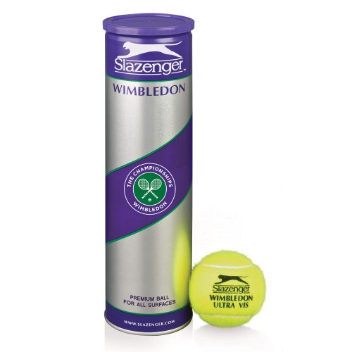 Slazenger Wimbledon Ultra Vis - Tubo de 4 pelotas de tenis, color...
