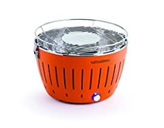 Fan operated charcoal grill Grill ready in 3 minutes - smoke-free, healthy and safe, bellows effect Grill grid and inner bowl are made of stainless steel and can be cleaned in a dish-washer