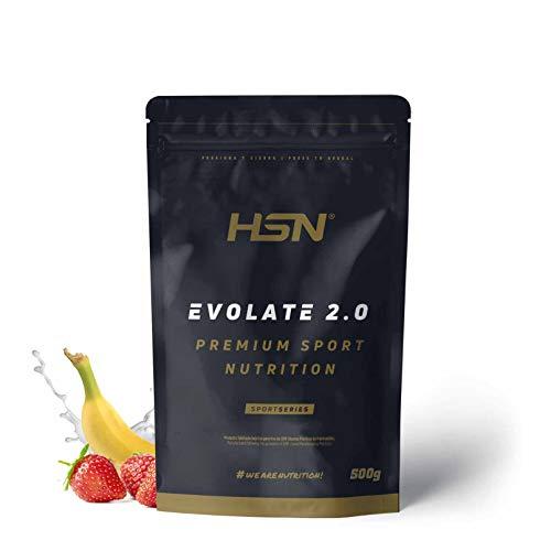 Aislado de Proteína de Suero de HSN Evolate 2.0 | Whey Protein Isolate | Proteína CFM + Enzimas Digestivas (Digezyme) + Ganar Masa Muscular | Vegetariana, Sin Gluten, Sin Soja, Fresa Banana, 500g