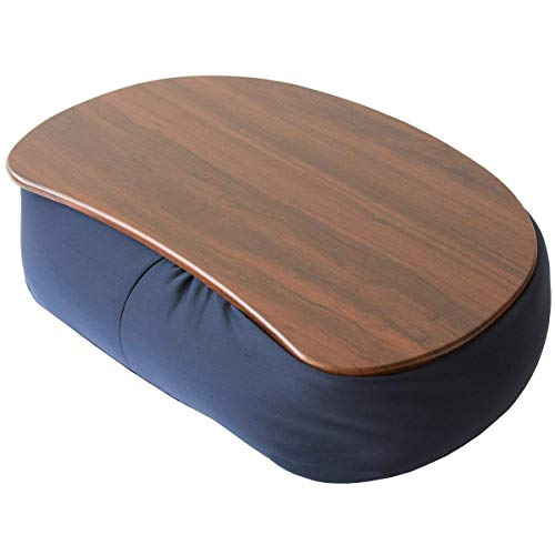テーブルクッション ネイビー 天板ブラウン マイクロビーズ使用 幅45×奥行35cm 天板取り外し可能