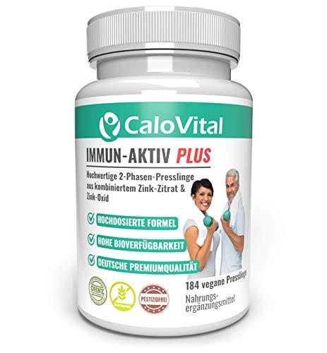 Zink Tabletten hochdosiert zum Immunsystem stärken als Nahrungsergänzung | 2-Phasen Zink Tabletten wie Zink Kapseln für Haut Haare Nägel | Zink natürlich & vegan | Immun-Aktiv-Plus von CaloVital