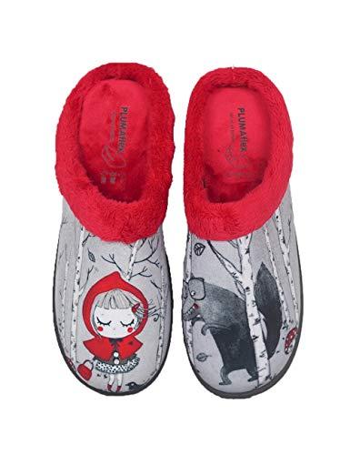 Pantuflas Zapatillas de Estar en casa para Mujer Invierno Roal 12213 Caperucita - Color - Rojo, Talla - 39