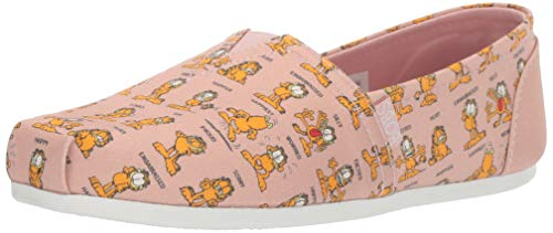 Skechers BOBS Women's Bobs Plush-Monday Moods. Garfield Slip on Ballet Flat, Blush, 8 M US