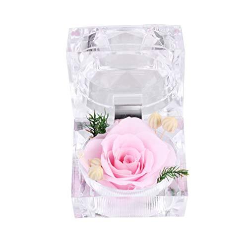 Vosarea - Flor fresca preservada rosa eterna con regalos de caja de anillo de cristal acrílico para mujeres, cumpleaños, San Valentín, aniversario de boda, color rosa