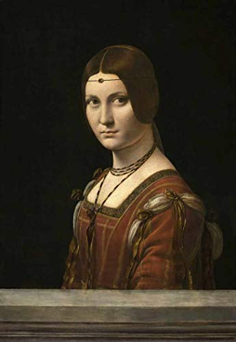 La belle Ferronniere (1490) de Leonardo da Vinci - 60x86 - Tela Canvas Para Quadro