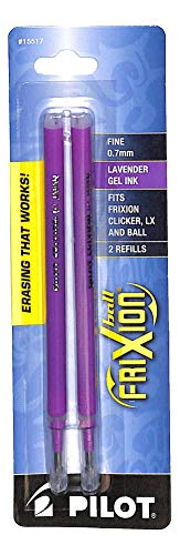 PILOT FriXion Gel Ink Refills For Clicker, LX & Ball Pens, Fine Point (0.7mm), Lavender Ink, 2-Pack (15517)