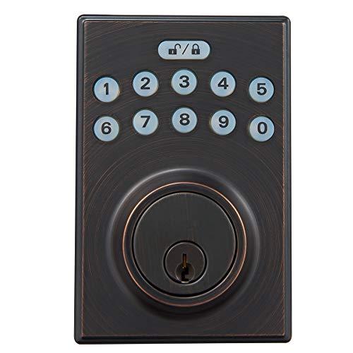 Amazon Basics Contemporary Electronic Keypad Deadbolt Doot Lock, Keyed Entry, Oil Rubbed Bronze