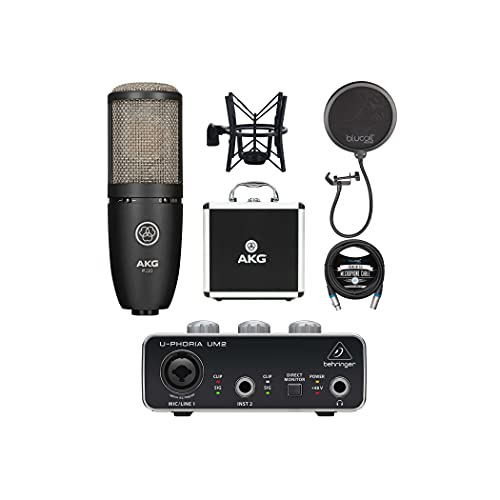 AKG P220 Cardioid Condenser Microphone for Vocals and String Instruments Bundle with Behringer U-PHORIA UM2 USB Audio Interface for Windows and Mac, Blucoil Pop Filter, and 10-FT Balanced XLR Cable