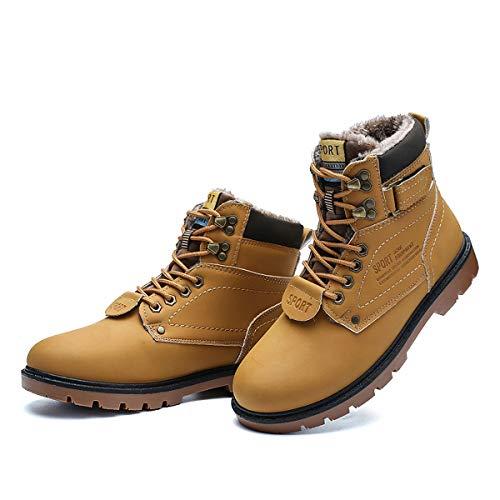 gracosy Hombre Botas de Nieve Invierno Trekking Zapatos 2019 Calientes Sneakers Antideslizante Botines Al Aire Libre Senderismo Cordones Negro