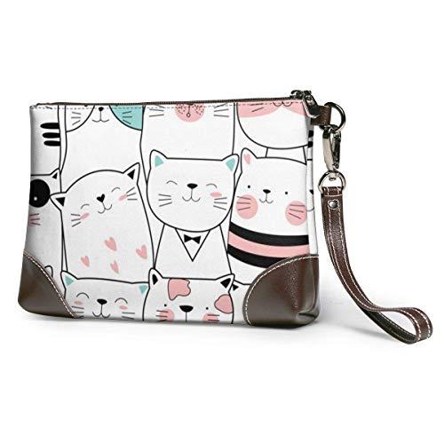 Ahdyr bolso de mano de cuero para mujer Monederos Carteras de teléfono de embrague Bolso pequeño de cuero de gato para bebé Monederos de mano