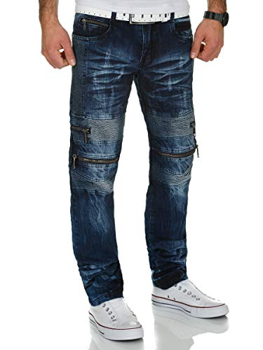 Kosmo Lupo Herren Biker Jeans Hose KM131 Blau W40/L34