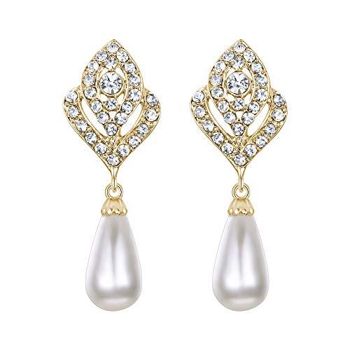 EVER FAITH Austrian Crystal Ivory Color Simulated Pearl Wedding Flower Pierced Earrings Clear Silver-Tone