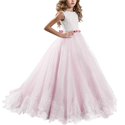 Long Tulle Junior Bridesmaid Dress with Pleating Style Lavender Infinity Dress Little Girls Prom Dresses Pageant Dress, Birthday Gifts Flower Girl Dresses Light Pink 2-3 Years