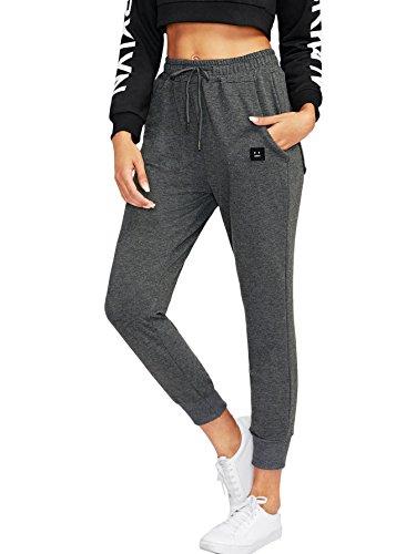DIDK Damen Hosen Elastisch Bund Sweathose Sporthose Jogginghose Sweatpants mit Tunnelzug Grau M