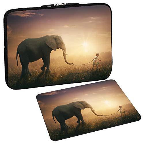 PEDEA Design Schutzhülle Notebook Tasche bis 15,6 Zoll (39,6cm) mit Design Mauspad, Elephant