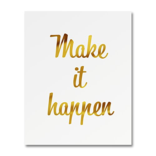 "Heritage Picture Group ""Make It Happen"" Gold Foil Art Print Small Poster - 300gsm Silk Paper Card Stock, Home Office Wall Art Decor, Inspirational Motivational Encouraging Quote 8"" x 10"""
