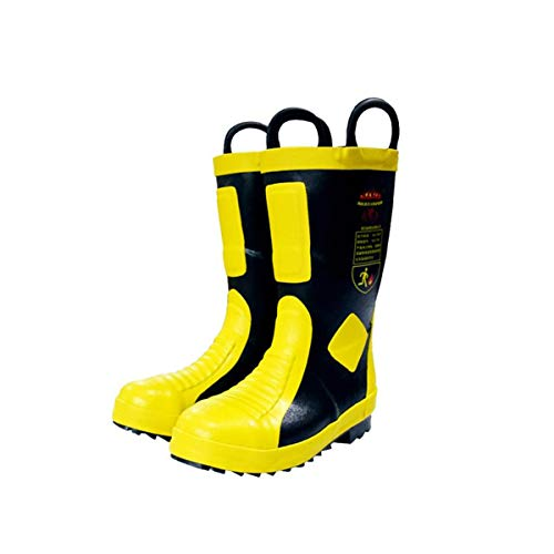 QHENS Calzado De Seguridad Botas De Seguridad Unisex Impermeable Prevención De Fuego Con Punta De Acero Calzado De Trabajo Anti Pinchazo, Material De Caucho,Amarillo,44EU