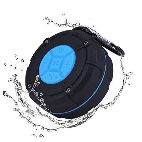 Unitify Altavoz Bluetooth Portatiles, IPX7 Waterproof Bluetooth Speaker con Ventosa, Micrófono, Conductor Ligero 3W, Mic Incorporado para iPhone, Android, Smartphone Windows y Tablets(Azul)