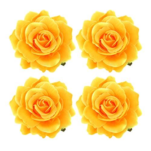 PRETYZOOM Femmes Rose Fleurs en Épingle à Cheveux Pince à Cheveux Fleur Broche Bohême Boho Cheveux Accessoires pour Mariage Hawaii Plage Vacances Vacances Décoration 4 Pcs (Jaune)