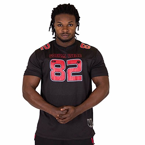 GORILLA WEAR Fresno T-Shirt - schwarz/rot - Bodybuilding und Fitness Bekleidung Herren, 4XL