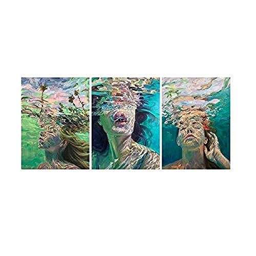 WSXYD Lienzo de arte sin marco, 3 piezas, no tejido, para sala de estar, dormitorio, decoración del hogar, Buceo, belleza, 50 cm x 70 cm