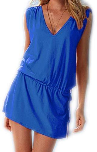 ERGEOB® Kurzes Luftiges Damen Sommerkleid mit tiefem V-Ausschnitt in Blau - Rückenfreies Freizeitkleid Ideal als Bikini Cover Up, Strand, Urlaub, Pool, Meer, See, Sommernächte, Party.