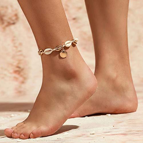 Fairvir Tobilleras bohemias con colgante de concha dorada, estilo bohemio, para fiestas de playa de arena, para mujeres y niñas