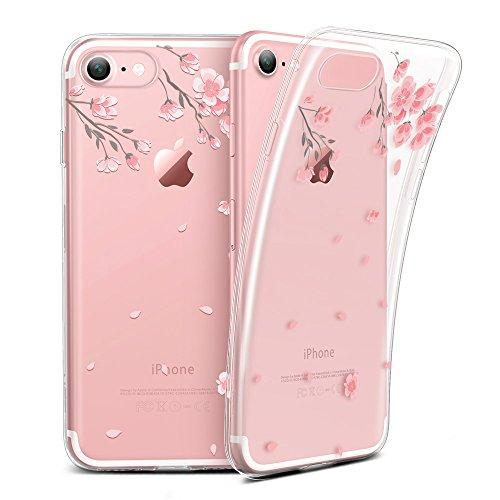 ESR iPhone 7 Hülle (4,7 Zoll), Mania Series Transparent Weiche Silikon Malerei Muster Hülle [Crystal Klar] TPU Bumper Hülle Blühende Blumen Design Schutzhülle für iPhone 7 (Kirschblüten)