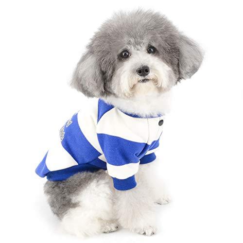 ZUNEA Sudadera para Perros Pequeños Cálido Abrigo Jersey Invierno con Rayas para Cachorros Ropa de Algodón Suave Acolchado para Mascotas Gatos Chihuahua Yorkshire Perros Niña Niño Azul XXL