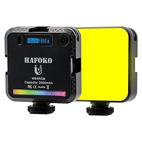 """HAFOKO W64 Mini RGB LED Luz Color Cámara Light con 3 Zapatas Frías 1/4"""" Magnética Teléfono Vlog Luz Inteligente con Pantalla LCD 2000mah 2500K-9000K Compatible con Cámara Tiktok Youtube Vlogger"""