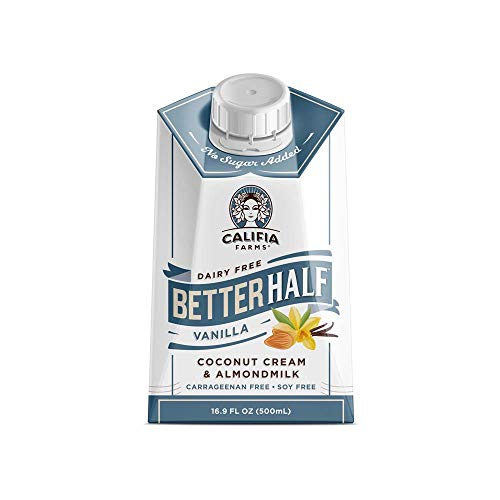 Califia Farms - Vanilla Better Half Coffee Creamer, 16.9 Oz (Pack of 6) | Half and Half | Coconut Cream and Almond Milk | Non Dairy | Plant Based | Vegan | Keto| Sugar Free | Zero Carb | Shelf Stable