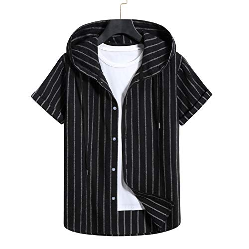 Camisa de hombre para primavera, verano, informal, ajustada, de manga corta, con botones, para primavera, con capucha, de corte regular y estilo hawaiano Black ab. M