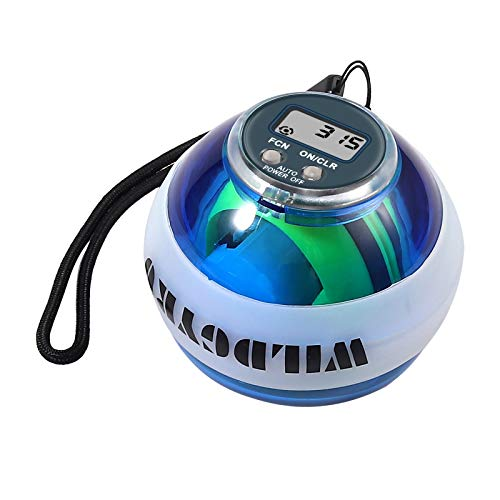Justech Bola Energética de Entrenamiento Bola de Potencia Bola Automática de Empieza para Ejercicio Accesorios de Fitness Bola Giroscópica LED de Fuerza con LCD Pantalla para Muñecas Brazos Ma