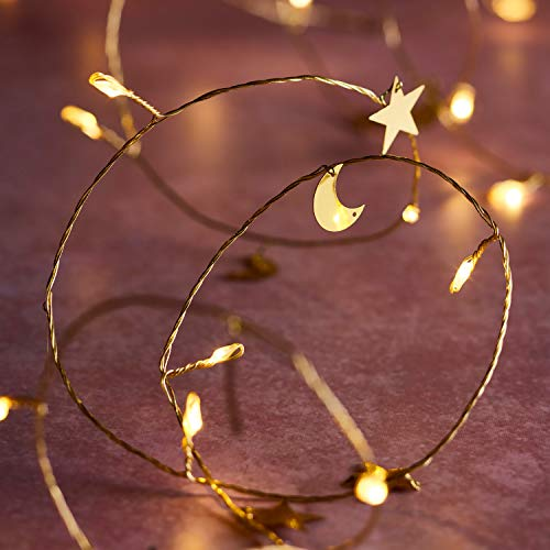 Lights4fun 20 Moon & Stars Battery String Lights Micro LED Golden Thin Wire Ramadan Decoration 2m Timer