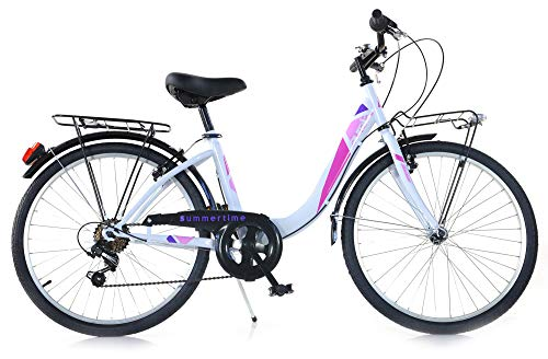 giordanoshop Bicicletta da Donna 24' 6V Aurelia Roadster Bike Bianca