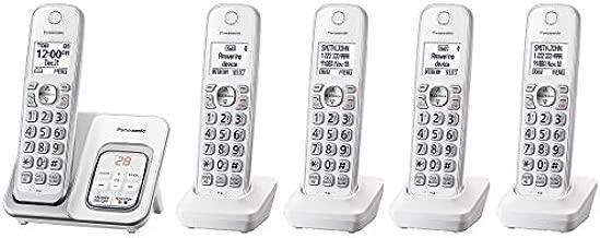 Panasonic KX-TGD533W plus two KX-TGDA51W/KX-TGDA50W1 handsets Cordless Phone with Answering Machine - 5 Handsets (Renewed) (KX-TGD532W + 3)