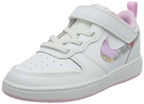 Nike Court Borough Low 2 SE (TDV) Sneaker, White/Multi-Color-Light Arctic Pink, 21 EU