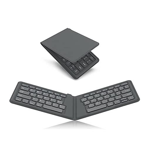 LJSF Teclado Plegable, Teclado Inalámbrico Portátil Ultrafino, Teclado Bluetooth Ergonómico, Teclado Compacto, Compatible con Tablet y Otros Dispositivos