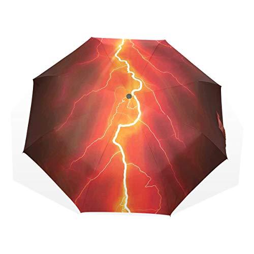 LASINSU Regenschirm,Bolzen gegabelt gegen Gewitter des dunklen Himmels Intensive elektrische Strahln Thema Natur,Faltbar Kompakt Sonnenschirm UV-Schutz Winddicht Regenschirm