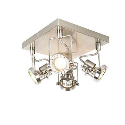 QAZQA Industrie/Industrial/Modern IndustrieSpot/Spotlight/Deckenspot/Deckenstrahler/Strahler/Lampe/Leuchte 4-flammig Spotbalken-flammig schwenkbar - Suplux/Innenbeleuchtung/Wohnzimm