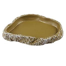 POPETPOP Pets Feeding Bowl – Reptile Feeding Plate, Vivarium Resin Food Water Feeding Dish for Tortoise, Turtle, Gecko, Snake, Pet Breeding Tray – Reptiles Supplies