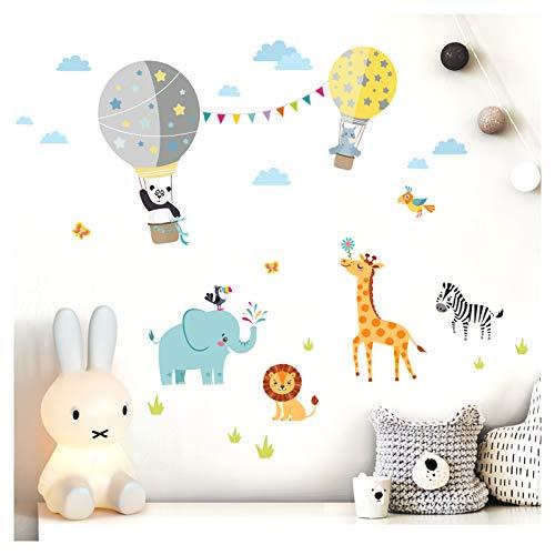 Little Deco Wandtattoo Kinderzimmer Junge Zoo Tiere im Heißluftballon I Wandbild - 102 x 63 cm (BxH) I Wandbilder Herzen Aufkleber Tiere Deko Sticker DL343